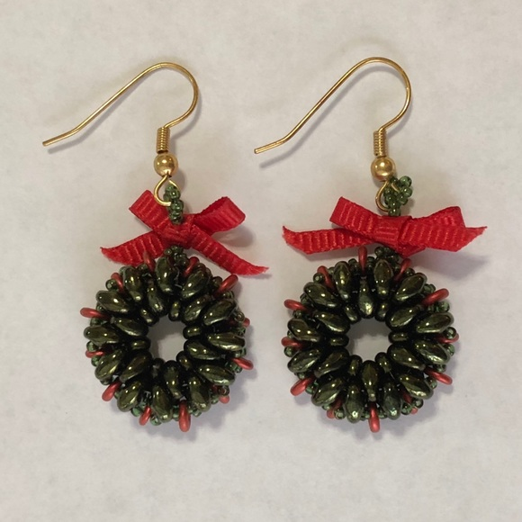 Jewelry Christmas Wreath Earrings Poshmark